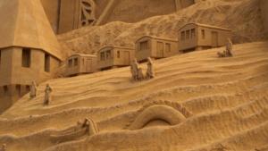 Sand castle bath houses